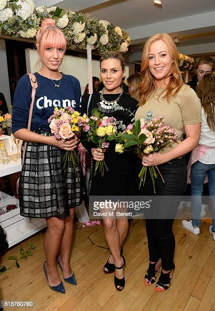 SarahJane Mee Zoe Hardman and Amber Le Bon at the launch of Evian's new Fruits Plants flavour range at iconic London store LIBERTY on March 15 2016...