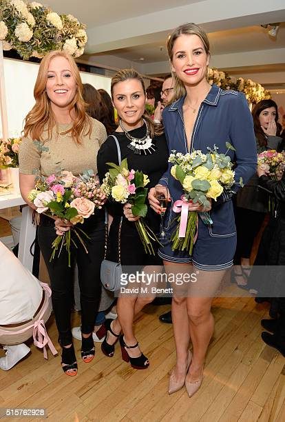 SarahJane Mee Zoe Hardman and Vogue Williams at the launch of evian's new Fruits Plants flavour range at iconic London store LIBERTY on March 15 2016...