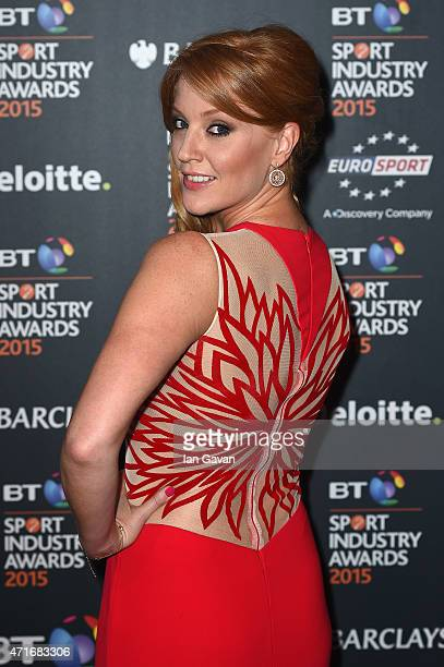 SarahJane Meeposes on the red carpet at the BT Sport Industry Awards 2015 at Battersea Evolution on April 30 2015 in London England The BT Sport...