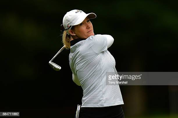 SarahJane Smith of Australia hits her second shot on the 3rd hole during the third round of the Ricoh Women's British Open at Woburn Golf Club on...