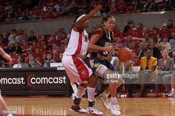 SarahJo Lawrence of the George Washington Colonials drives to the hoop against the Maryland Terrapins November 19 2006 at Comcast Center in College...