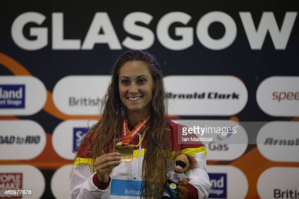 Sarai Gascon of Spain poses with her gold medal from Women's 50m Freestyle S9 final during day Four of the IPC Swimming World Championships at...