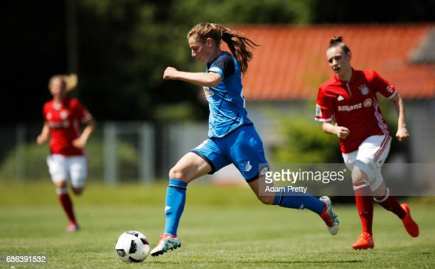 Sarai Linder of Hoffenheim II in action during the match between 1899 Hoffenheim II and FCB Muenchen II at St Leon football ground on May 21 2017 in...