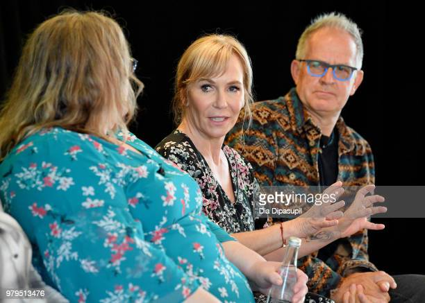 Sarai Walker Marti Noxon and Stephen Cornwell speak onstage during the 'From Book To Screen' Panel at the AMC Summit at Public Hotel on June 20 2018...