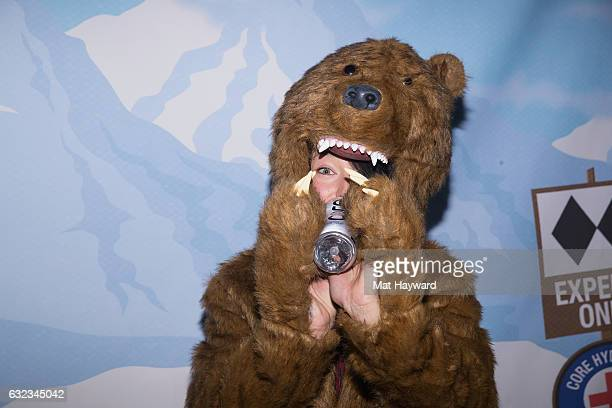 Sarain Carson-Fox drinks a bottle of Core Water in a bear suit while attending the Tone It Up Wellness Loung during the Sundance Film Festival on...