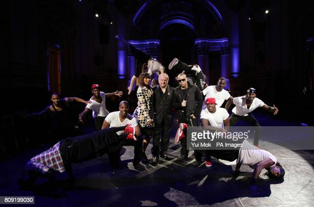 SaraJane Skeete music director and conductor Mike Batt and rapper Ironik with members of Flawless and Alleviate during a rehearsal of a specially...