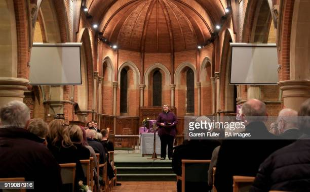 SaraJane Stevens Curate at St Matthews Church in Worthing West Sussex conducts a memorial service for Stuart and Jason Hill who were killed alongside...