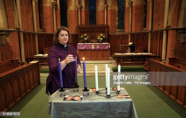 SaraJane Stevens Curate at St Matthews Church in Worthing West Sussex prepares for a memorial service for Stuart and Jason Hill who were killed...