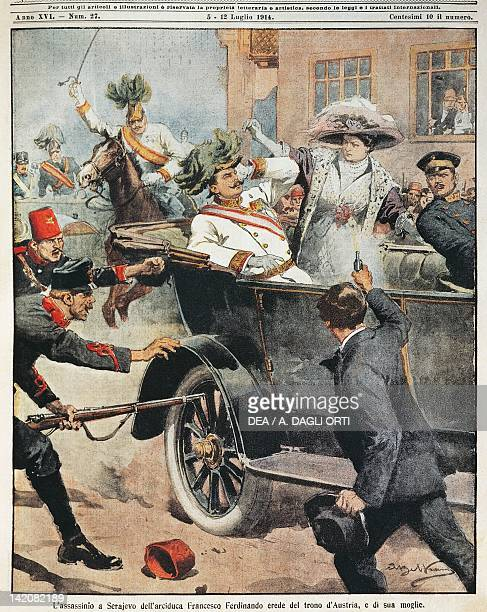 Sarajevo Assassination of Archduke Franz Ferdinand heir to the Austrian throne and his wife Illustrator Achille Beltrame from La Domenica del...