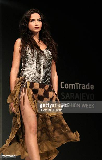 A Bosnian model wears creations by Serbian fashion designer Slavica Aleksijev's 'Omnia Mei collection' on second night of autumn edition of Sarajevo...