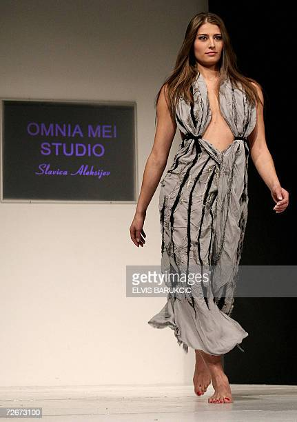 Bosnian models wear creations from the collection 'Omnia Mei' by Serbian fashion designer Slavica Aleksijev on second night of autumn edition of...