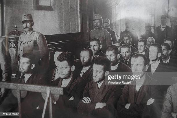 Sarajevo Bosnia Herzegovina Reproduction of a historic photo taken at the trial of the murderers of Archduke Franz Ferdinand of Austria and his wife...