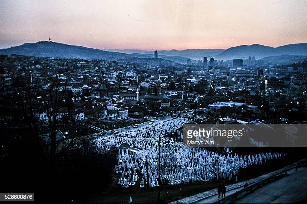 Sarajevo cemetery of war victims at dusk