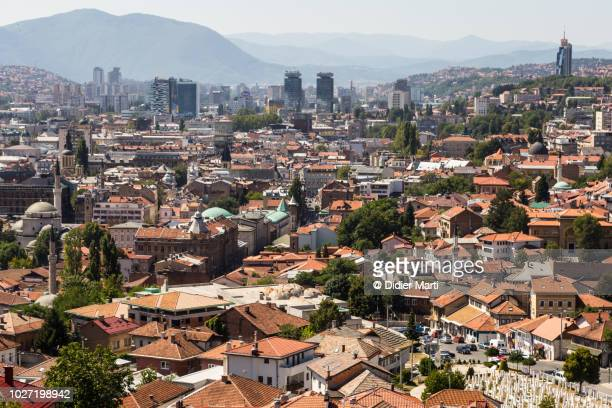 sarajevo old town from the nearby hills in bosnia and herzegovina - bosnia and hercegovina stock pictures, royalty-free photos & images