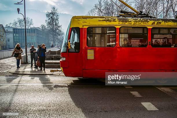 sarajevo tram - sarajevo stock pictures, royalty-free photos & images