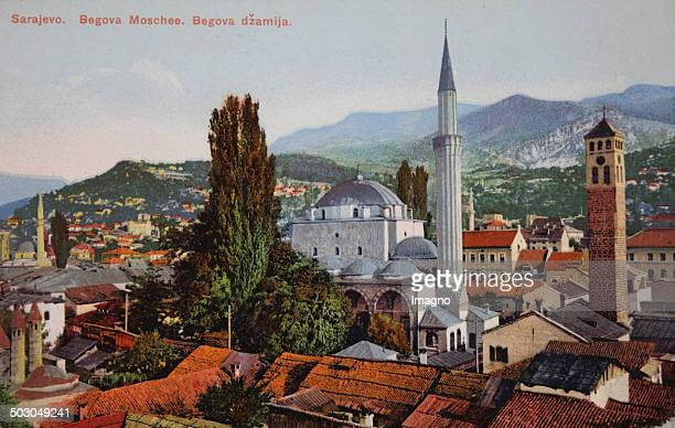 Sarajevo . View the Begova mosque. Coloured picture postcard . About 1910. Photograph.