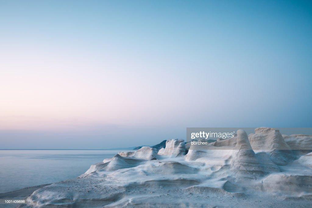 Sarakiniko Beach At Sunset : Stock Photo