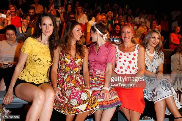 Saralisa Volm Ekaterina Leonova Wanda Badwal Eva Mona Rodekirchen and Masha Sedgwick attend the Lena Hoschek show during the MercedesBenz Fashion...