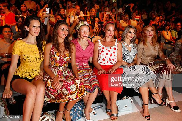 Saralisa Volm Ekaterina Leonova Wanda Badwal Eva Mona Rodekirchen Masha Sedgwick and Andrea Sawatzki attend the Lena Hoschek show during the...