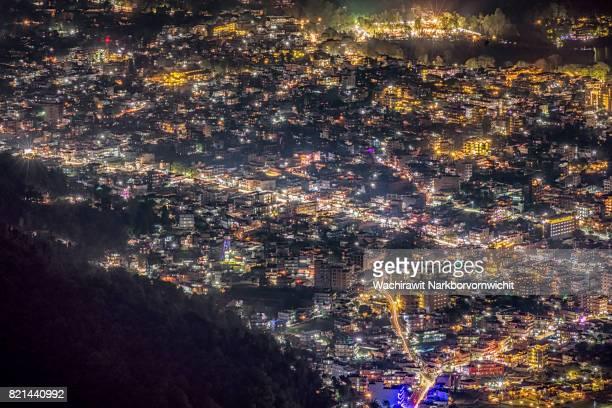 sarangkot night city view - pokhara stock pictures, royalty-free photos & images