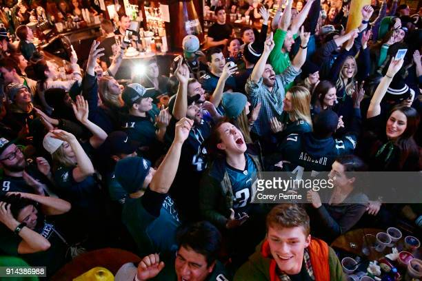 SaraPaige Silvestro of Barrington New Jersey reacts with a bar full of Eagles fans watching on TV to the moment the Eagles won Super Bowl LII at The...