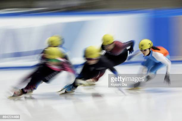 Sarasa Ishii competes in the Ladies' 1000m Heat during day two of the 40th All Japan Short Track Speed Skating Championships at Nippon Gaishi Arena...