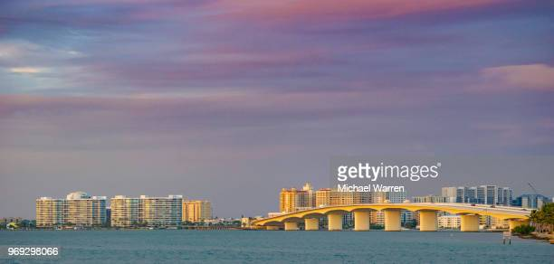 sarasota, florida usa - skyline and bridge - sarasota stock photos and pictures