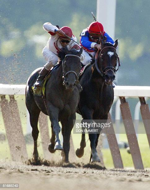 Sarava and Medaglia d'Oro fight toward the finish in the 134th Belmont Stakes 08 June 2002 in Elmont NY Sarava trained by Ken McPeek and ridden by...