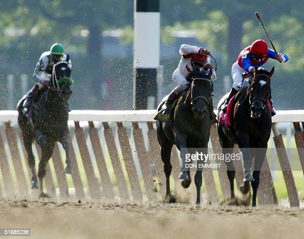 Sarava and Medaglia d'Oro fight toward the finish line as War Emblem trials in the background in the 134th Belmont Stakes 08 June 2002 in Elmont NY...