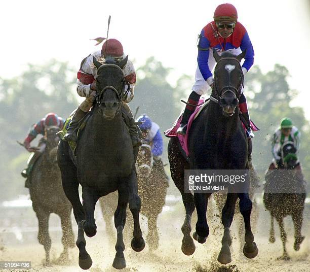 Sarava with jockey Edgar Prado crosses the finish line ahead of Medaglia d'Oro to win the 134th Belmont Stakes 08 June in Elmont NY Triple Crown...
