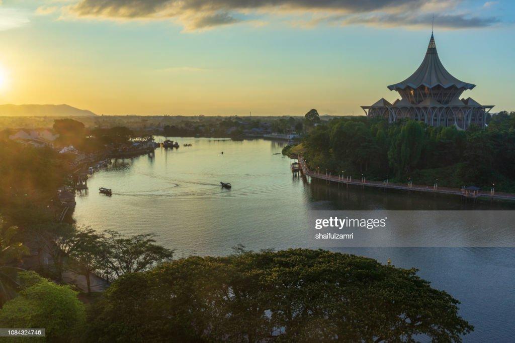 Sarawak River under the evening sun in Kuching, Sarawak : Stock Photo