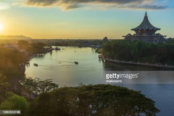 Sarawak River under the evening sun in Kuching, Sarawak