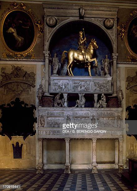 Sarcophagus and Equestrian statue of Bartolomeo Colleoni the Colleoni Chapel Bergamo Alta Lombardy Italy