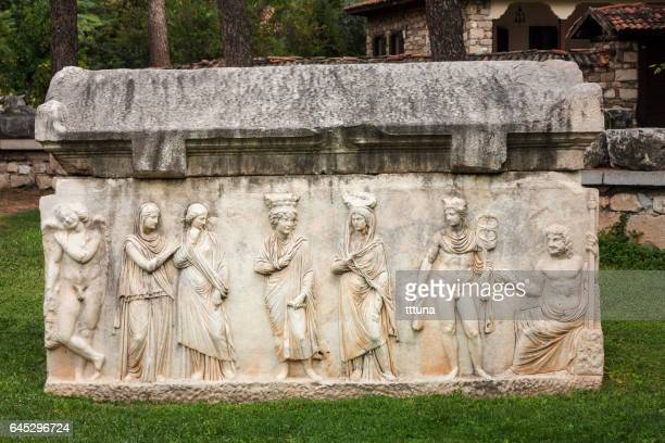 sarcophagus in aphrodisias - roman goddess stock pictures, royalty-free photos & images