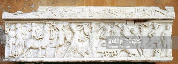 Sarcophagus lavishly decorated with depiction of Dionysiac Procession Italy Roman