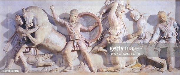 Sarcophagus of Alexander unearthed in Sidon marble work Lebanon Relief detail showing the capture of a panther Greek civilization 4th Century BC...