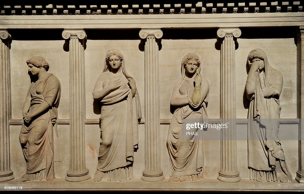 Sarcophagus of mourning women. 4th century BC. From Royal Necropolis of Sidon. : News Photo