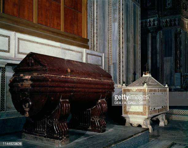 Sarcophagus of William I of Sicily red porphyry and tomb of William II of Sicily Monreale cathedral Monreale Sicily Italy