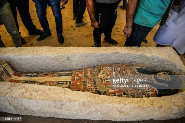 Sarcophagus, part of a new discovery carried out almost 300 meters south of King Amenemhat IIs pyramid at Dahshur necropolis, is exposed near the...