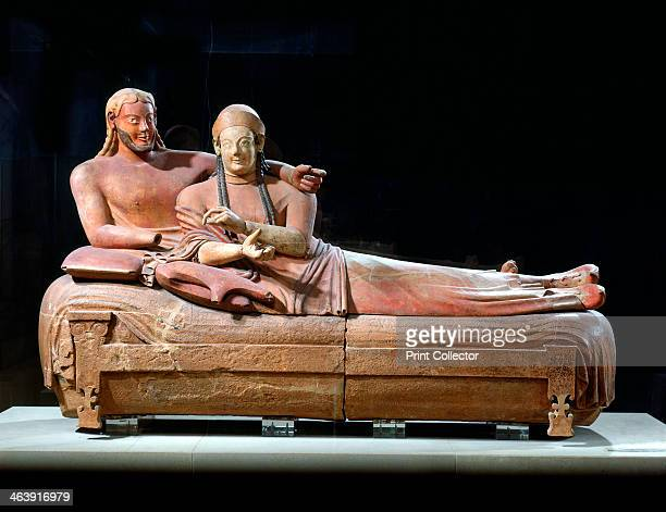 Sarcophagus with reclining couple, 6th century BC. From the Etruscan tombs at Ceveteri, Italy, now at the Musee du Louvre, Paris.