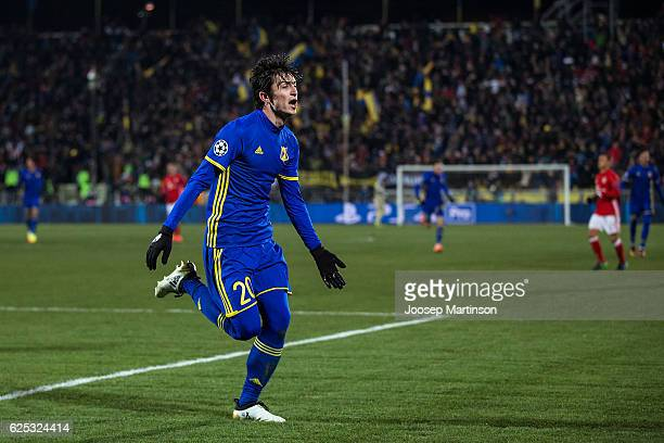 Sardar Azmoun of FC Rostov celebrates his goal during the UEFA Champions League match between FC Rostov and Bayern Muenchen at Olimp2 on November 23...
