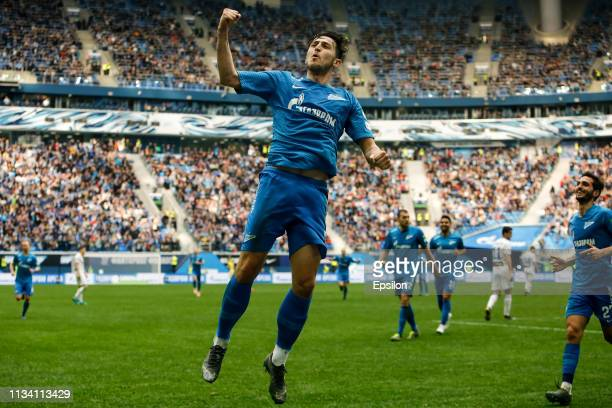 Sardar Azmoun of FC Zenit Saint Petersburg celebrates his goal during the Russian Premier League match between FC Zenit Saint Petersburg and FC...