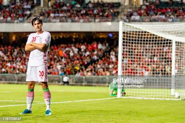 Sardar Azmoun of IR Iran celebrates after scoring his goal during the FIFA World Cup Asian Qualifier 2nd Round match between Hong Kong and IR Iran at...