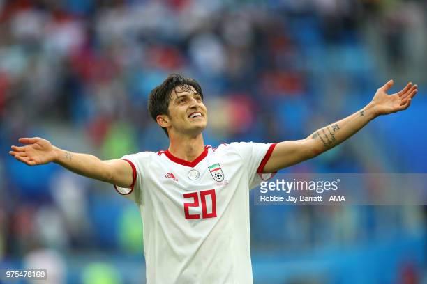 Sardar Azmoun of IR Iran celebrates at the end of the 2018 FIFA World Cup Russia group B match between Morocco and Iran at Saint Petersburg Stadium...