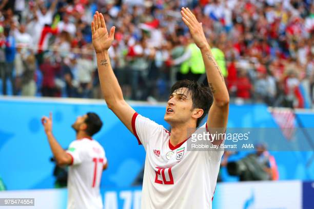 Sardar Azmoun of IR Iran celebrates during the 2018 FIFA World Cup Russia group B match between Morocco and Iran at Saint Petersburg Stadium on June...