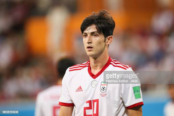 Sardar Azmoun of IR Iran in action during the 2018 FIFA World Cup Russia group B match between Iran and Portugal at Mordovia Arena on June 25 2018 in...