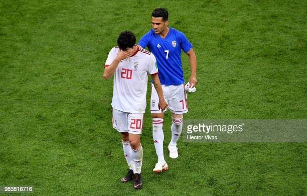 Sardar Azmoun of Iran and Masoud Shojaei react following the 2018 FIFA World Cup Russia group B match between Iran and Portugal at Mordovia Arena on...