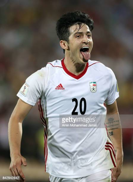 Sardar Azmoun of Iran celebrates after his first goal during FIFA 2018 World Cup Qualifier match between Iran v Syria on September 5 2017 in Tehran...