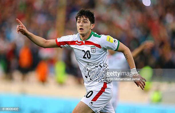 Sardar Azmoun of Iran celebrates after scoring their first goal during 2018 FIFA World Cup Qualifier match between Iran against Oman on March 29 2016...