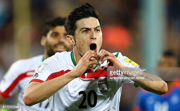 Sardar Azmoun of Iran celebrates after scoring their second goal during 2018 FIFA World Cup Qualifier match between Iran against India on March 24...
